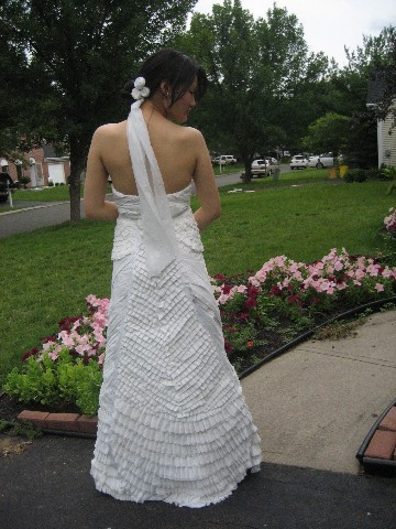 wedding gown and headpiece that you have constructed out of toilet paper
